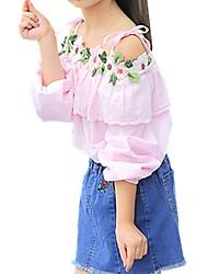 Недорогие -Дети Девочки Повседневные Цветочный принт Вышивка Длинный рукав Обычный Хлопок Рубашка Белый / Очаровательный