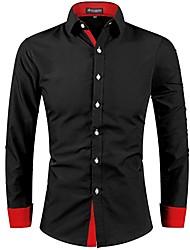 Недорогие -Муж. Плиссировка Пэчворк Рубашка Классический Однотонный