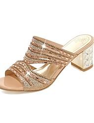 女性用 靴 オーダーメイド素材 グリッター 夏 アイデア コンフォートシューズ サンダル チャンキーヒール オープントゥ/ピープトウ のために 結婚式 パーティー ゴールド グリーン