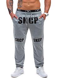economico -pantaloni chino elasticizzati normali a vita media da uomo, semplice lettera in poliestere primavera / autunno
