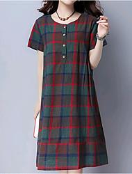 preiswerte -Damen Übergrössen Baumwolle Lose Kleid - Grundlegend, Einfarbig Knielang