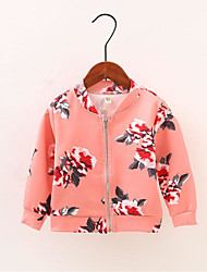 cheap -Girls' Daily Sports Solid Floral Jacket & Coat, Polyester Spring Fall Long Sleeves Simple Casual Black Blushing Pink