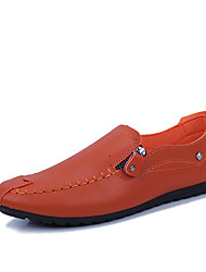 cheap -Men's Shoes PU Spring Fall Comfort Loafers & Slip-Ons for Casual White Black Orange