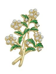 baratos -Mulheres Broches , Imitação de Pérola Básico Fashion Liga Formato de Folha Flor Dourado Jóias Para Diário Encontro