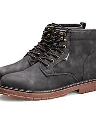 男性用 靴 ピッグスキン 冬 秋 コンバットブーツ コンフォートシューズ ブーツ ミドルブーツ のために カジュアル ブラック グレー イエロー