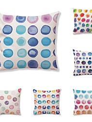 baratos -6 pçs Téxtil Algodão/Linho Moderno/Contemporâneo Fronha Cobertura de Almofada, Poá Art Deco Design Especial Estilo Artístico Alta