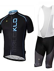 economico -Malciklo Manica lunga Maglia con salopette corta da ciclismo - Bianco Nero Bicicletta Maglietta/Maglia, Asciugatura rapida, Design