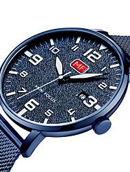 baratos -MINI FOCUS Homens Quartzo Relógio Casual Japanês Calendário Relógio Casual Noctilucente Aço Inoxidável Banda Fashion Legal Preta Azul