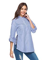 baratos -Mulheres Camisa Social Básico, Listrado