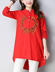 Недорогие -Жен. Простой Шинуазери (китайский стиль) Рубашка - Цветочный принт, С принтом V-образный вырез