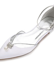 cheap -Women's Shoes Satin Spring Summer D'Orsay & Two-Piece Comfort Wedding Shoes Flat Heel Rhinestone Crystal Bowknot Imitation Pearl