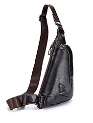 cheap -Unisex Bags Cowhide Sling Shoulder Bag Zipper Black