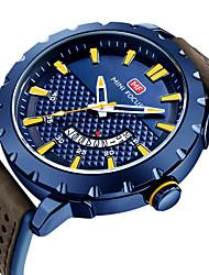 preiswerte -MINI FOCUS Herrn Quartz Armbanduhren für den Alltag Japanisch Kalender Armbanduhren für den Alltag Echtes Leder Band Modisch Cool Braun