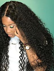 Недорогие -Натуральные волосы Лента спереди Парик Бразильские волосы Kinky Curly Стрижка каскад Стрижка боб С пушком С чёлкой 130% плотность