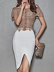 abordables -Mujer Vintage Conjunto - Un Color, Plisado Falda