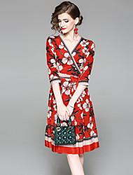 abordables -Mujer Básico Línea A Vestido - Estampado, Floral Hasta la Rodilla