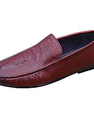 Homens sapatos Pele Pele Napa Primavera Outono Conforto Mocassins e Slip-Ons para Casual Preto Vermelho