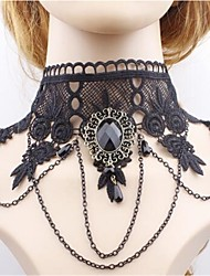 cheap -Lolita Accessories Gothic Lolita Dress Gothic Black Lolita Accessories Solid Colored Necklace Lace