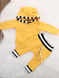 baratos -bebê Unisexo Conjunto Diário Esportes Sólido Listrado Primavera Verão Algodão Elastano Manga Longa Simples Casual Amarelo