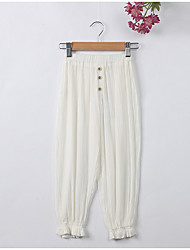 cheap -Kids Girls' Simple Solid Colored Linen Pants
