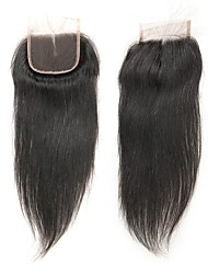 cheap -Laflare Malaysian Straight 4x4 Closure With Baby Hair Weft Swiss Lace Remy Free Part Middle Part 3 Part Silky New Arrival