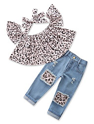 cheap -Girls' Daily Going out Print Leopard Clothing Set, Cotton Polyester Summer Sleeveless Cute Casual Gray