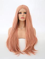 baratos -Perucas Lace Front Sintéticas Mulheres Ondulado Natural Rosa Cabelo Sintético Riscas Naturais Rosa Peruca Longo Frente de Malha Laranja