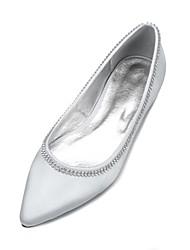 economico -Per donna Scarpe Raso Primavera / Estate Comoda / Ballerina scarpe da sposa Piatto Appuntite Con diamantini Blu scuro / Argento / Avorio