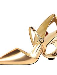 Недорогие -Жен. Обувь Дерматин Весна Осень Удобная обувь Башмаки и босоножки На толстом каблуке Закрытый мыс для Офис и карьера Золотой Черный
