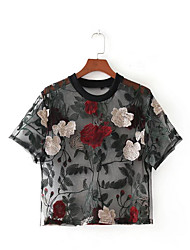 cheap -Women's Going out Street chic Blouse - Floral Mesh, Floral