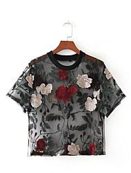 baratos -Mulheres Blusa Moda de Rua Floral, Floral Malha
