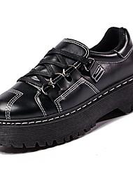 女性用 靴 PUレザー 春 秋 コンフォートシューズ オックスフォードシューズ フラットヒール のために カジュアル アウトドア ブラック Brown