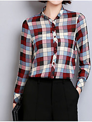 cheap -Women's Going out Cute Basic Blouse - Plaid / Check, Modern Style