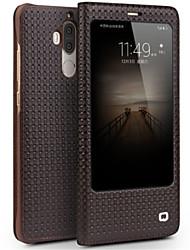 Недорогие -Кейс для Назначение Huawei Mate 9 Pro Mate 9 Защита от удара с окошком Флип Чехол Сплошной цвет Твердый Настоящая кожа для Mate 9