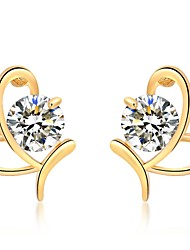 cheap -Women's Stud Earrings Cubic Zirconia Classic Fashion Zircon Alloy Heart Jewelry Gold Silver Daily Going out Costume Jewelry