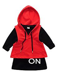 abordables -Ensemble de Vêtements Fille Quotidien Vacances Couleur Pleine Polyester Printemps Manches Longues simple Orange Rouge Jaune