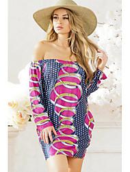 cheap -Women's Beach Loose Loose Dress - Geometric High Waist Boat Neck