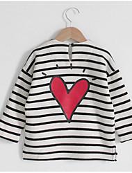abordables -Pull à capuche & Sweatshirt Fille Quotidien Rayé Polyester Printemps Manches Longues simple Blanc