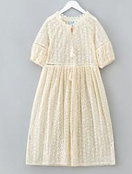 abordables -Robe Fille de Quotidien Couleur Pleine Coton Polyester Eté Demi Manches simple Beige