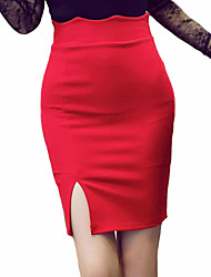 cheap -Women's Going out Street chic Plus Size Pencil Skirts - Solid Colored Color Block, Split
