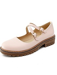 abordables -Femme Chaussures Matières Personnalisées / Similicuir Printemps / Automne Confort / Nouveauté Ballerines Talon Bottier Bout rond Noir /