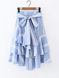 cheap -Women's Going out Cute A Line Skirts - Striped, Bow Ruffle