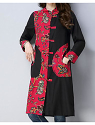 abordables -Femme Chinoiserie Ample Robe - Basique, Couleur Pleine