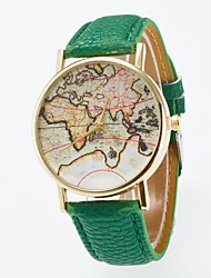 cheap -Men's Women's Fashion Watch Quartz Casual Watch Leather Band Analog Vintage World Map Black / Blue / Red - Light Blue Khaki Light Green