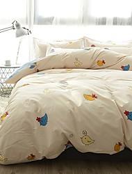 cheap -Duvet Cover Sets Cartoon 4 Piece Poly/Cotton Reactive Print Poly/Cotton 1pc Duvet Cover 1pc Sham 1pc Flat Sheet