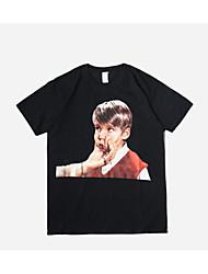 baratos -Homens Camiseta Básico Moda de Rua Retrato Algodão Decote Redondo