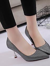 preiswerte -Damen Schuhe PU Frühling Pumps High Heels Stöckelabsatz Runde Zehe Schnalle für Party & Festivität Kleid Weiß Grau Rosa