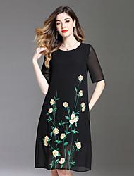 Недорогие -Жен. На каждый день Активный Свободный силуэт Платье - Цветочный принт, Вышивка Средней длины