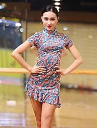 abordables -Baile Latino Vestidos Mujer Rendimiento Seda Sintética Diseño / Estampado Fruncido Manga Corta Vestido