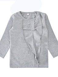 cheap -Girls' Daily Holiday Solid Tee, Cotton Spring Fall Long Sleeves Simple Gray